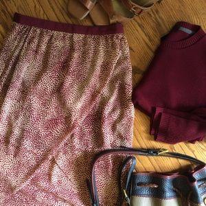 Forever 21 Maroon Burgundy Leopard Tulip Skirt S